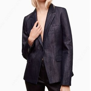 Talula indigo/silver metallic single button blazer